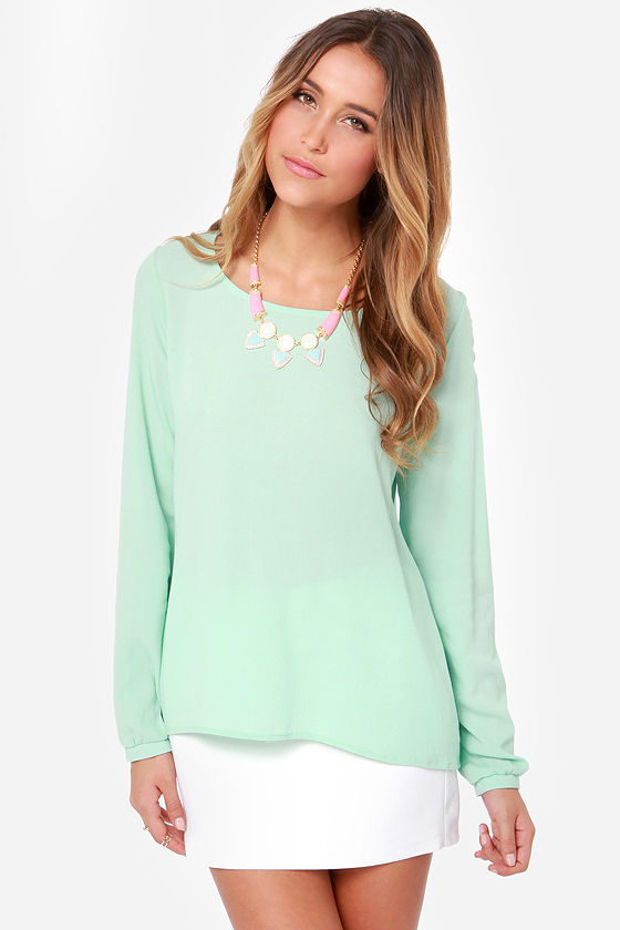 Cute Long Sleeve Top - Mint Green Top - Mint Blouse -  46.00 648ec5ec1