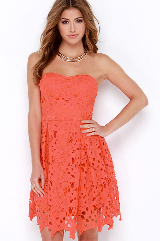Lovely Red Orange Dress - Lace Dress - Strapless Dress - $64.00