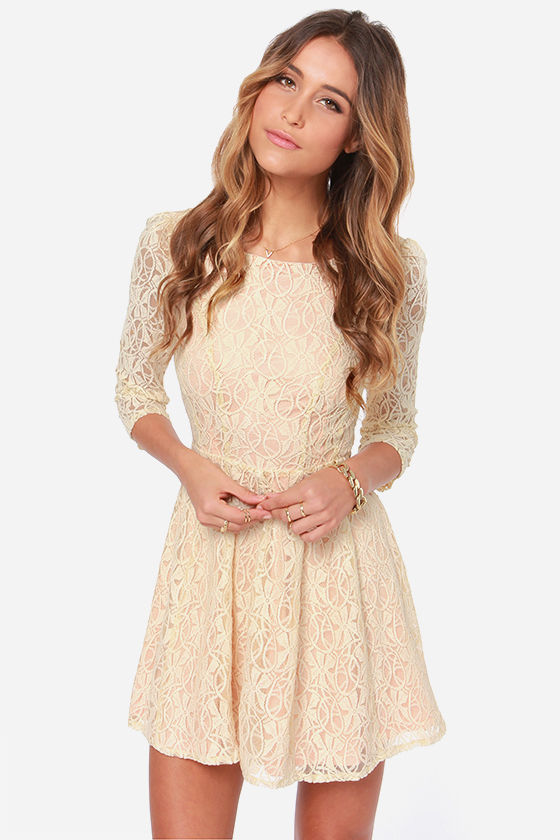 Lovely Lace Dress Cream Dress Skater Dress 65 00