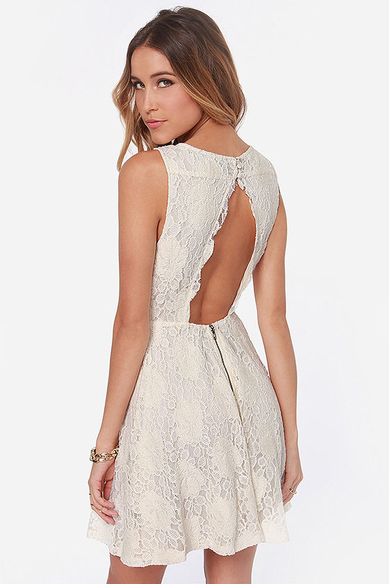 Pretty Lace Dress - Cream Dress - Backless Dress - Skater Dress ...