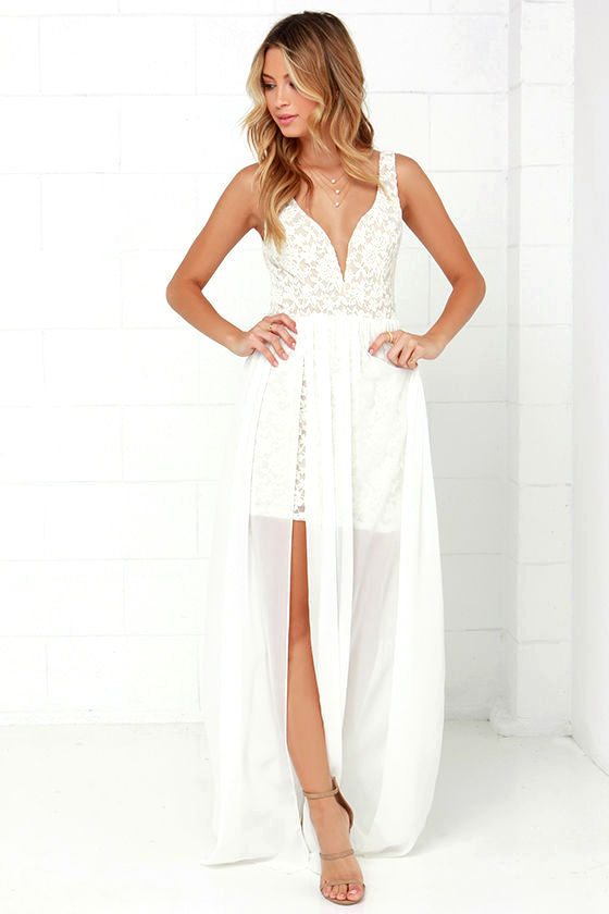 Make Way for Wonderful Off White Lace Maxi Dress - Lulus