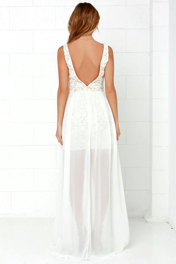 Make Way for Wonderful Off White Lace Maxi Dress 5