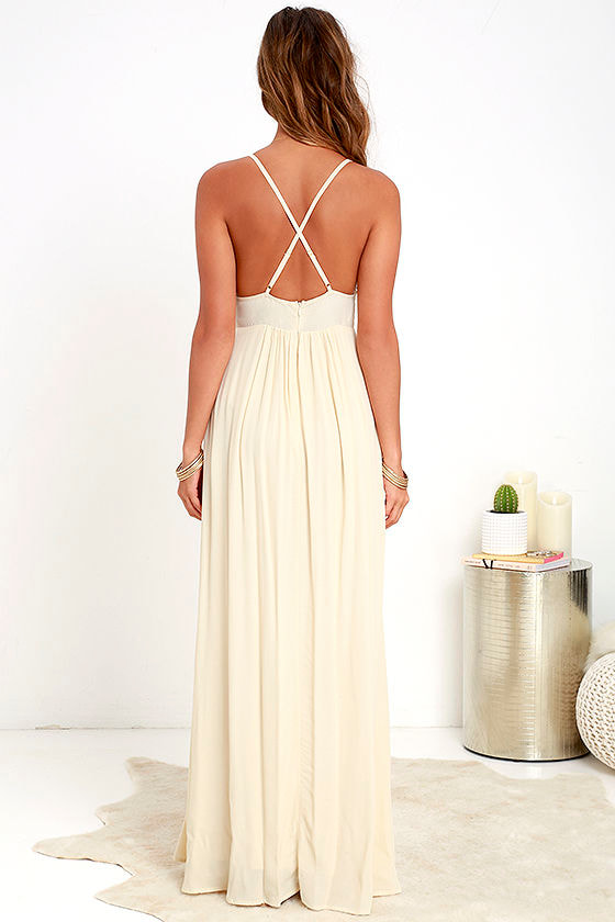 Lovely Cream Dress - Maxi Dress - Boho Dress - $78.00