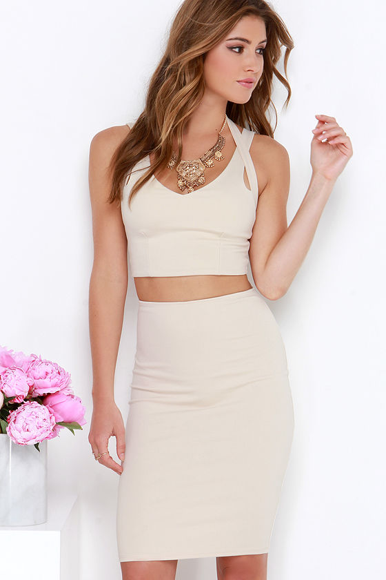 Beige Two Piece Dress - Bodycon Dress - Nude Dress - $62.00