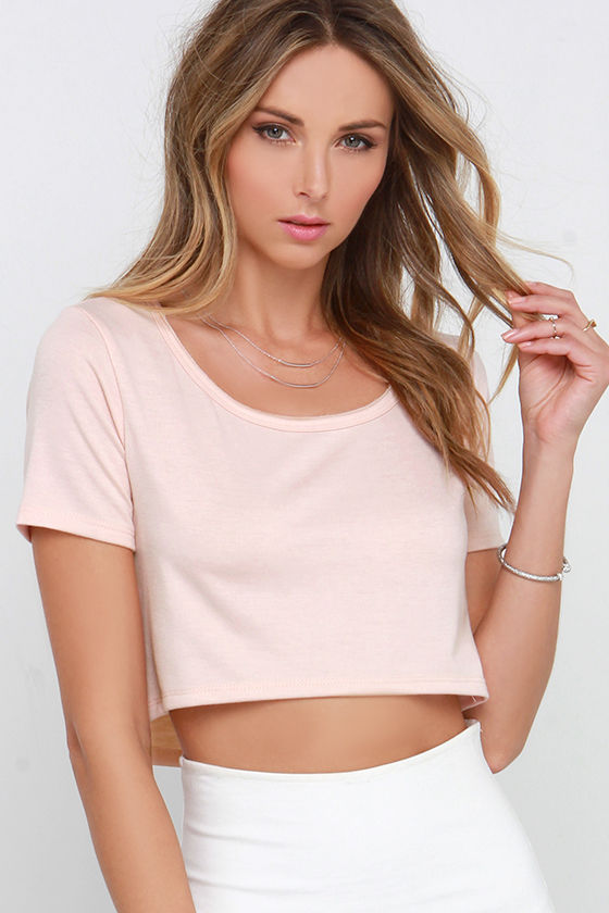 Cute Blush Pink Top - Crop Top - Short Sleeve Top - Crop Tee - $24.00