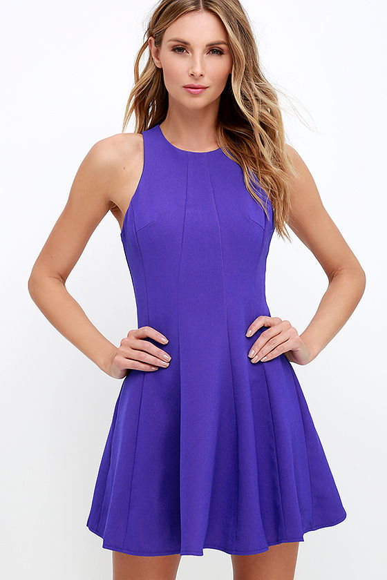 Cute Indigo Dress Fit And Flare Dress Sleeveless Dress