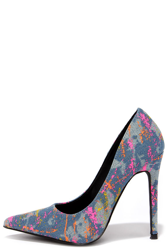 Cool Blue Pumps - Denim Pumps - Splatter Print Heels - $43.00