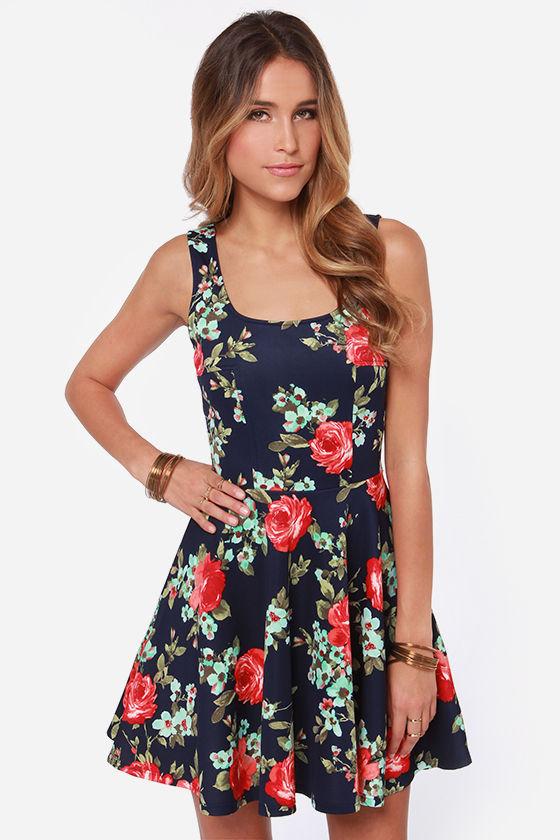 pretty navy blue dress skater dress floral print dress
