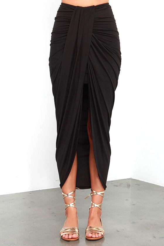Black Skirt - Wrap Skirt - Maxi Skirt - $37.00