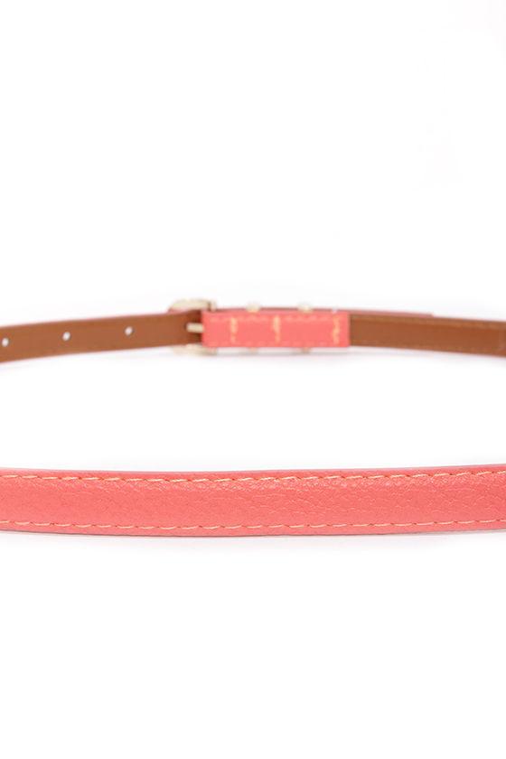 Hold Up Coral Skinny Belt at Lulus.com!