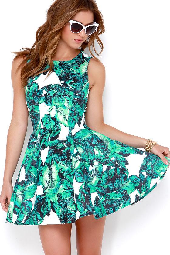 Chic Leaf Print Dress - Printed Dress - Green Dress- $72.00