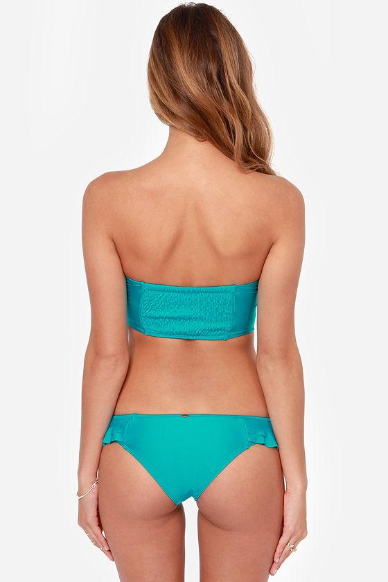 O'Neill Solids Ruffle Teal Bustier Bikini at Lulus.com!