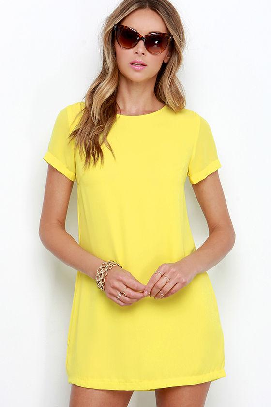Chic Yellow Dress Shift Dress 45 00