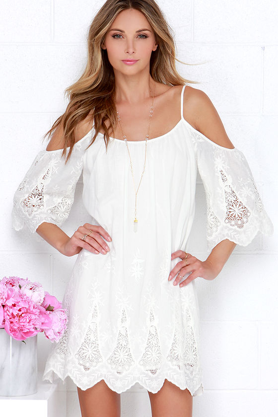 7bf5ffc28f6d Ivory Off-the-Shoulder Dress - Lace Dress - Shift Dress -  78.00