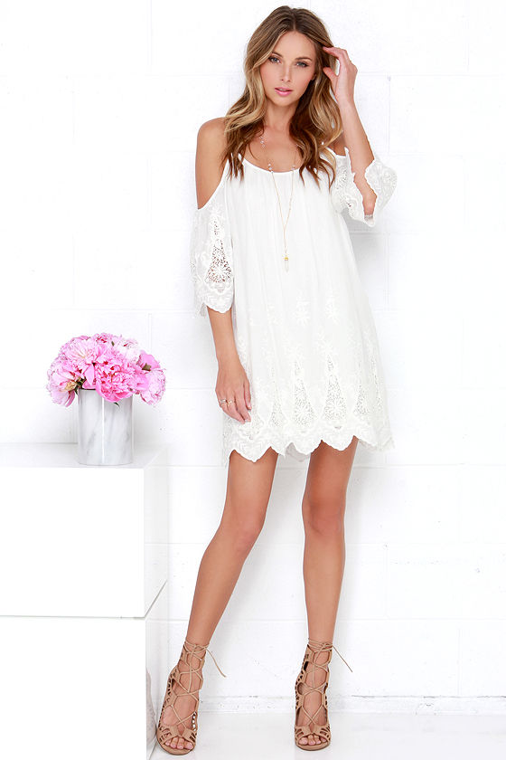 58a78df3e2c0 Ivory Off-the-Shoulder Dress - Lace Dress - Shift Dress -  78.00