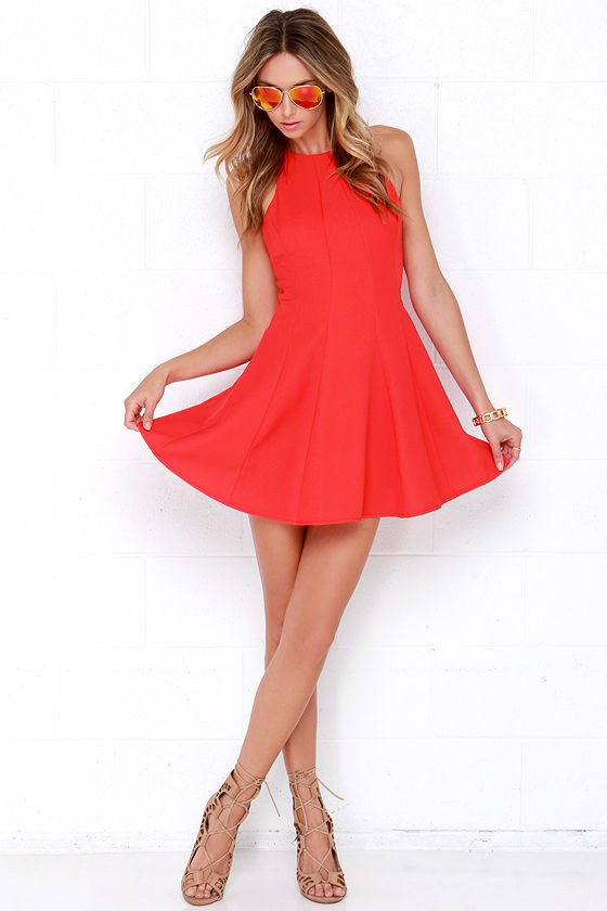 634e094b5748a Cute Coral Red Dress - Fit and Flare Dress - Sleeveless Dress -  55.00