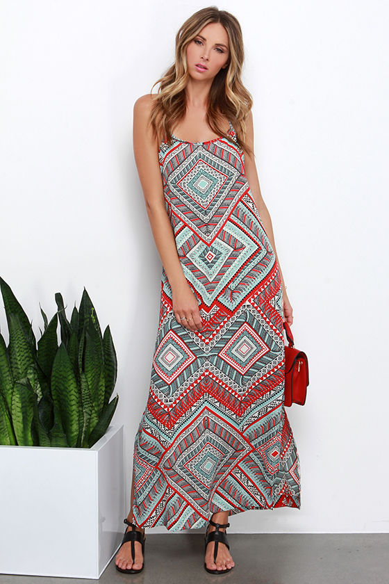 Red Print Dress - Maxi Dress - Tribal Print Dress - $89.00