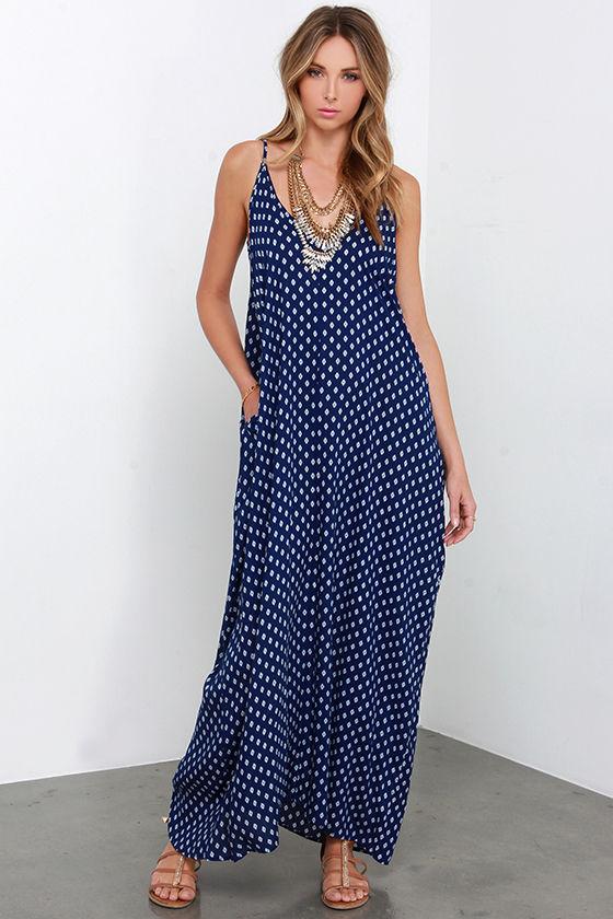 446cfa6216 Boho Maxi Dress - Navy Dress - Southwest Print Dress -  54.00