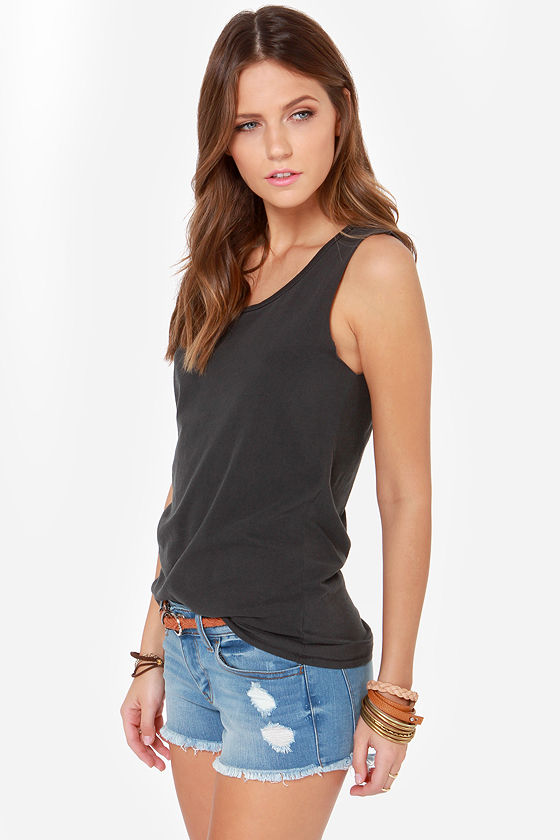 RVCA Label Scout Washed Black Muscle Tee at Lulus.com!