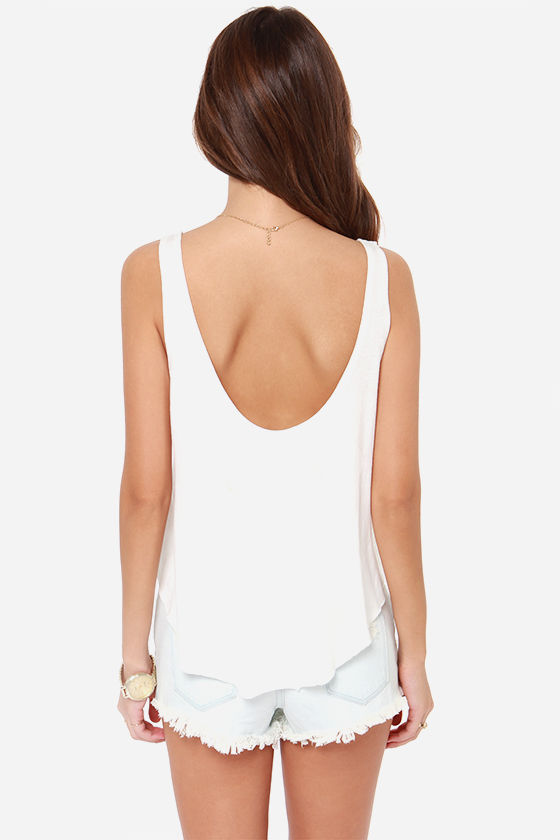 RVCA Department Ivory Print Tank Top at Lulus.com!