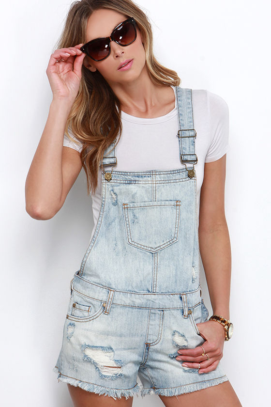 Denim Overalls - Distressed Overalls - Light Wash Overalls - $54.00