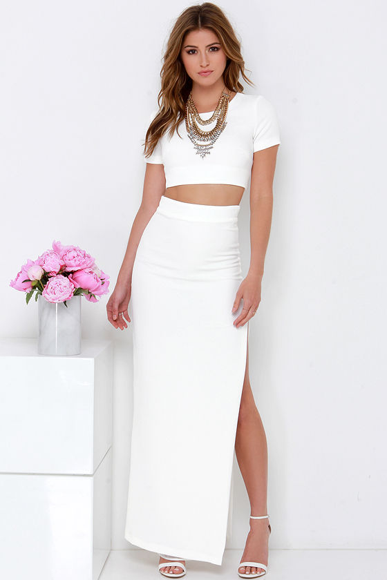 1c991e19498 Chic Two-Piece Dress - Ivory Dress - Maxi Dress -  123.00