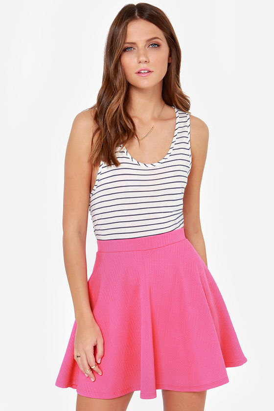 Pretty Hot Pink Skirt - Skater Skirt - High-Waisted Skirt - $33.00
