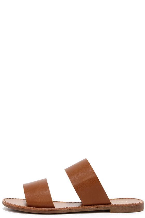 5a79565852e3 Chic Tan Sandals - Slide Sandals - Vegan Leather Sandals -  17.00
