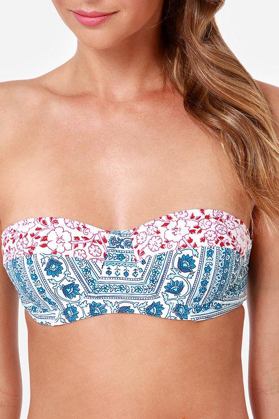 Billabong Namaste Blue Floral Print Bustier Bikini at Lulus.com!