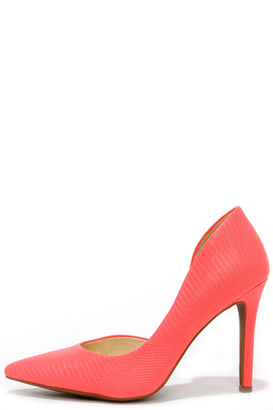 f5506822a Sexy Neon Coral Heels - Snakeskin Heels - D'Orsay Pumps - $81.00
