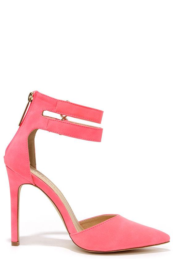 Cute Hot Pink Heels - Ankle Strap Heels - Pointed Pumps - $32.00