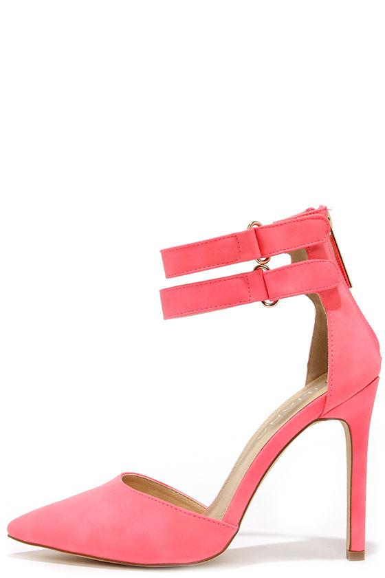 c8dbc9c8c6ba Cute Hot Pink Heels - Ankle Strap Heels - Pointed Pumps -  32.00