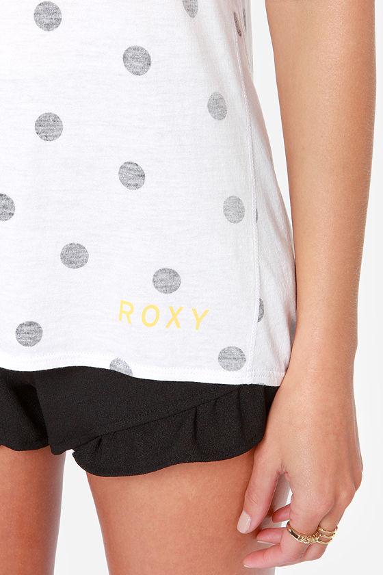Roxy Mode Ivory Polka Dot Muscle Tee at Lulus.com!