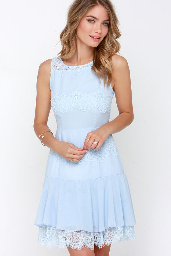 Lovely Light Blue Dress - Lace Dress - Trumpet Skirt - $84.00