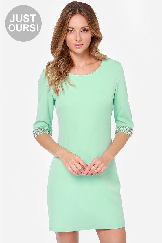 Pretty Mint Green Dress - Beaded Dress - Shift Dress - $44.00