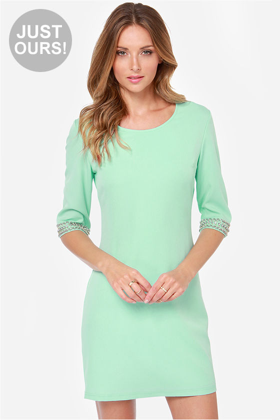 Pretty Mint Green Dress - Beaded Dress - Shift Dress - $44 ...