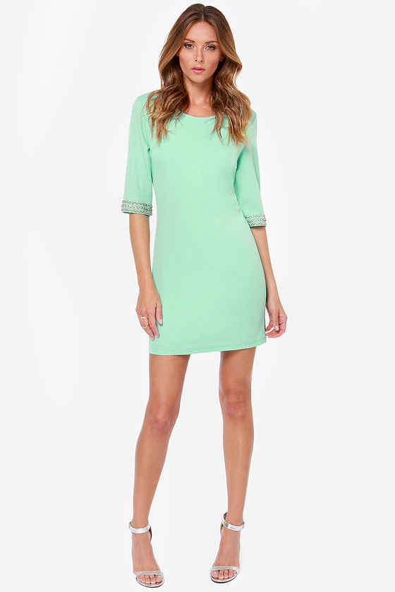 Pretty Mint Green Dress - Beaded Dress - Shift Dress - $44.00