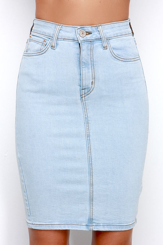 light blue denim skirt pencil skirt high waisted skirt