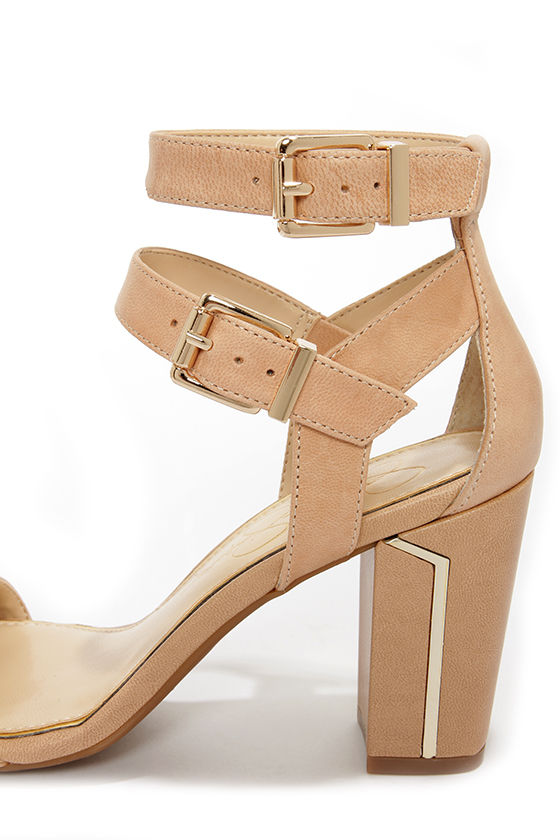 Jessica Simpson Julinda Natural Leather Ankle Strap Heels at Lulus.com!