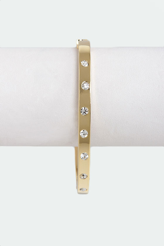Slim Gem Gold Rhinestone Bracelet at Lulus.com!