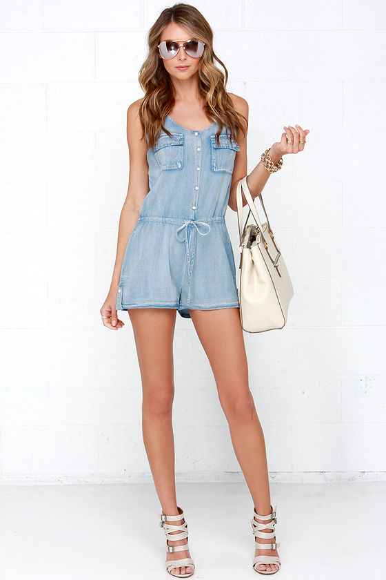 ae37a48608c Good Times Roll Light Wash Chambray Romper