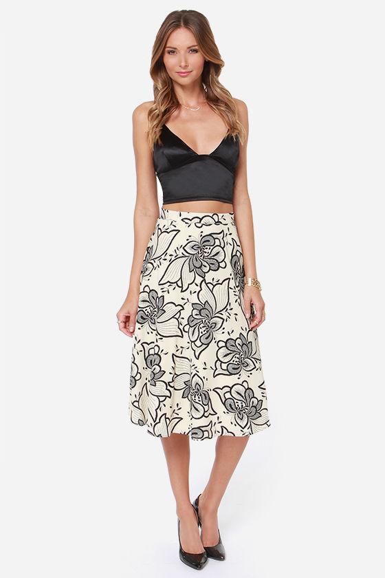 Cute Floral Print Skirt - Cream Skirt - Midi Skirt - $47.00