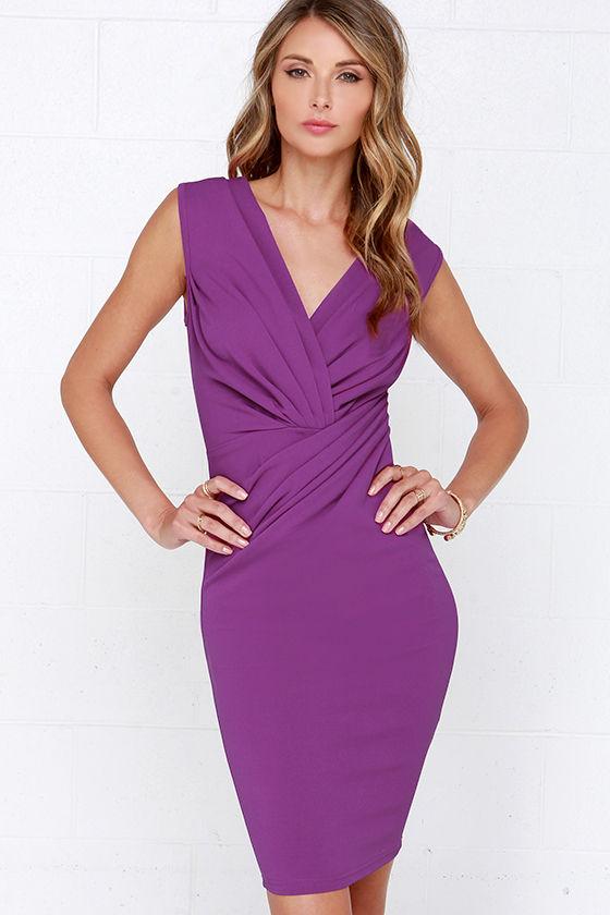 42b2916b17cb Chic Purple Dress - Midi Dress - Wrap Dress -  39.00