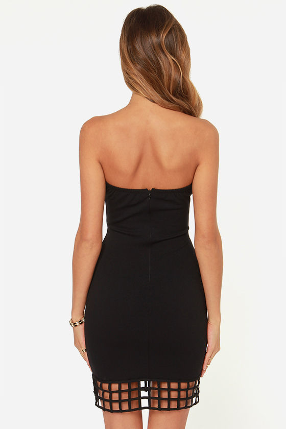 LULUS Exclusive Grid Point Average Strapless Black Dress at Lulus.com!