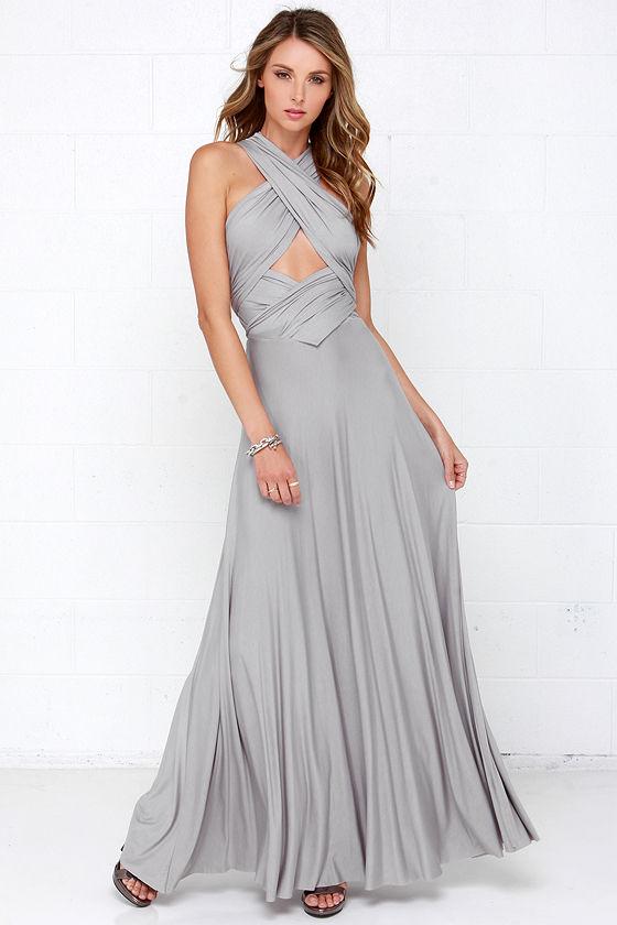 8bbf0cd1441 Awesome Light Grey Dress - Maxi Dress - Wrap Dress -  78.00