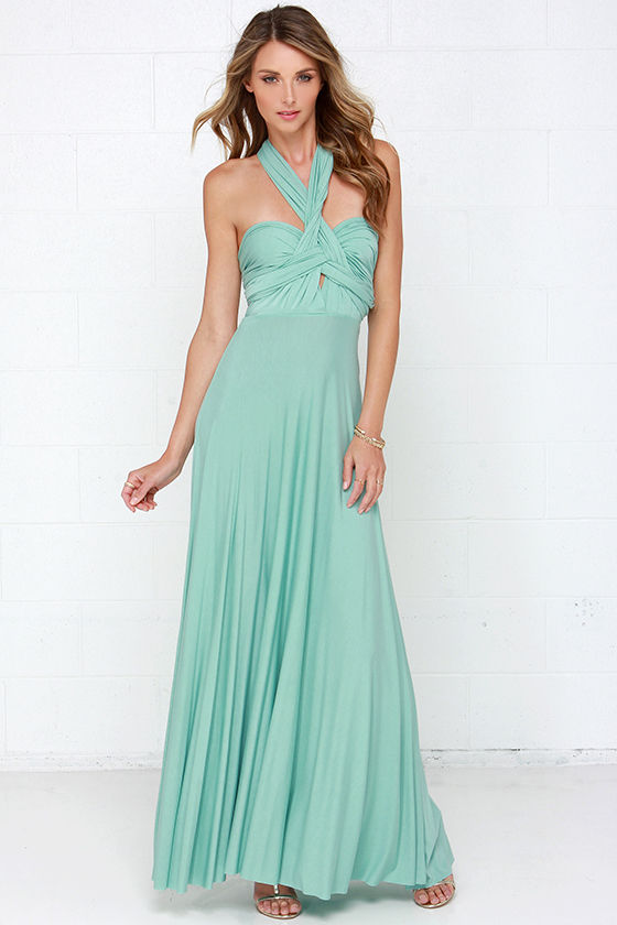 03718eb04760 Awesome Mint Green Dress - Maxi Dress - Wrap Dress - $78.00
