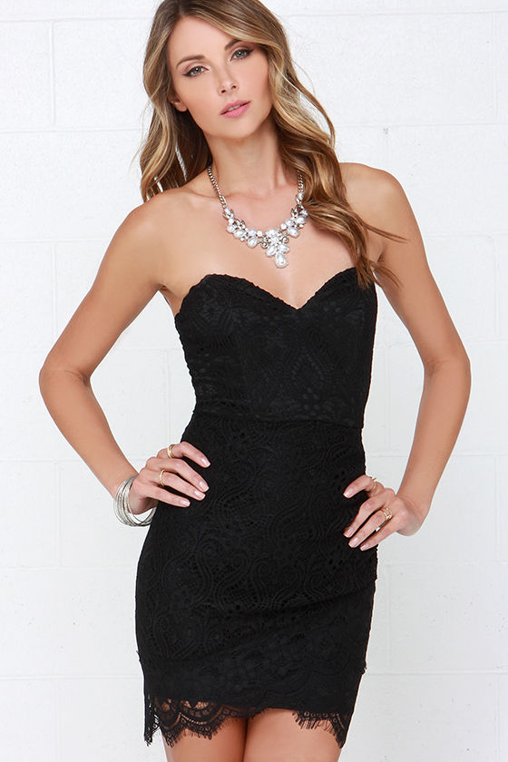 Black Dress - Lace Dress - Strapless Dress - LBD - $48.00