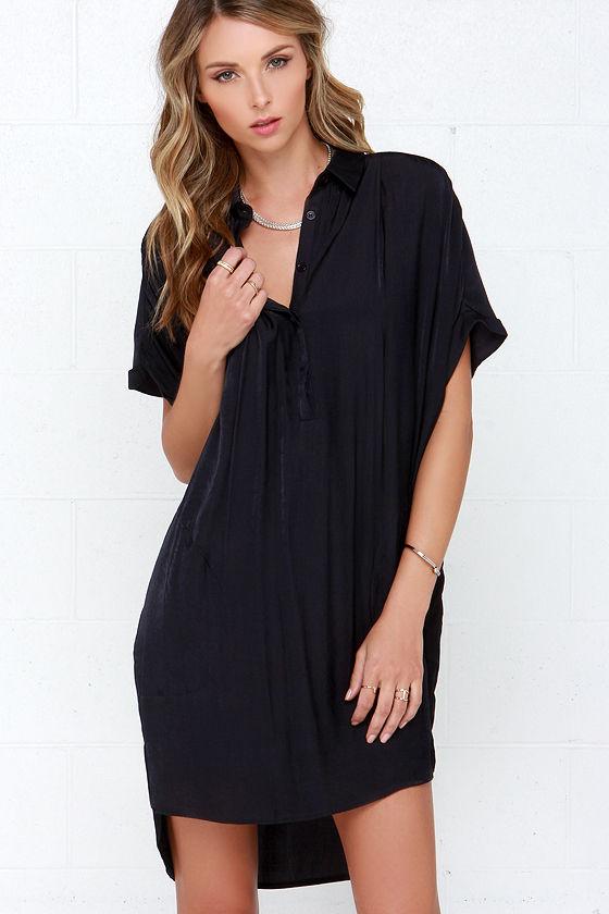 Black Shirt Dress - Shift Dress - Short Sleeve Dress - $48.00
