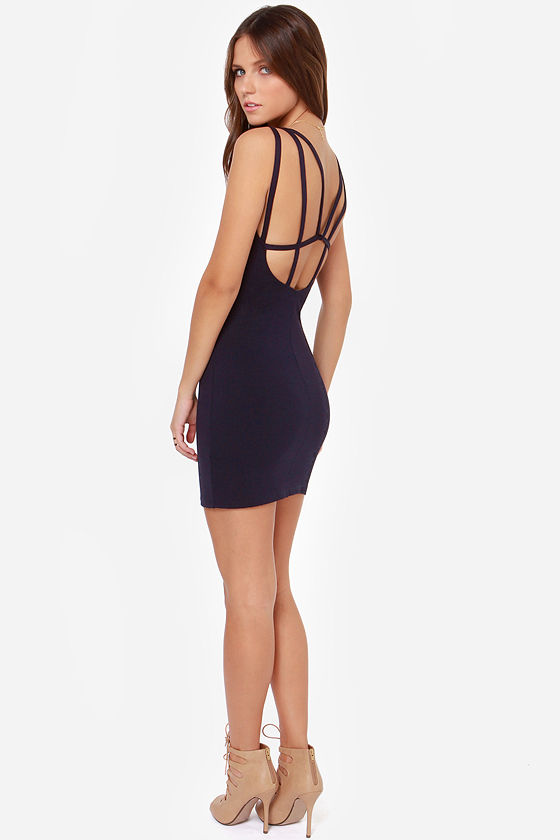 LULUS Exclusive Loop Delilah Navy Blue Bodycon Dress at Lulus.com!
