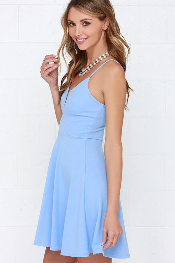 Cute Light Blue Dress Fit And Flare Dress Skater Dress